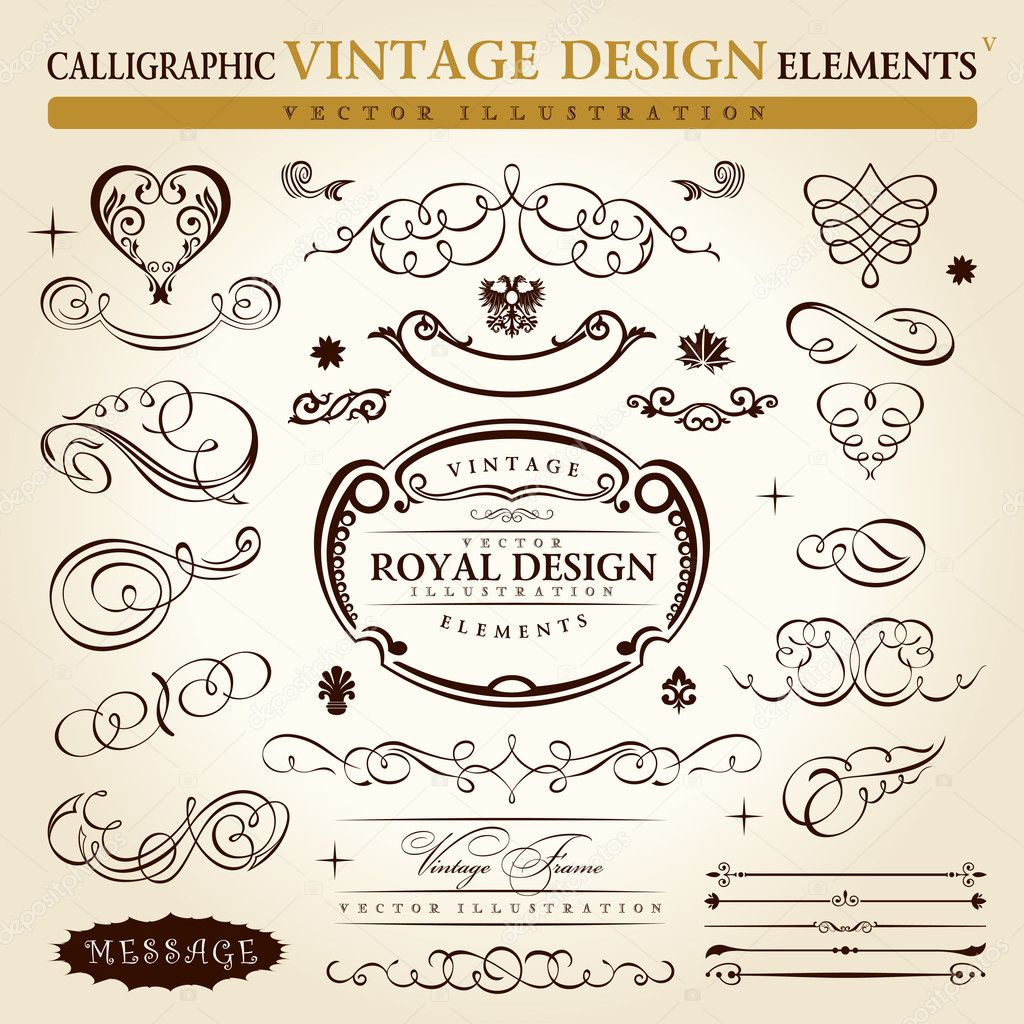 ... vintage ornament set. Vector frame ornamen - Stock Illustration