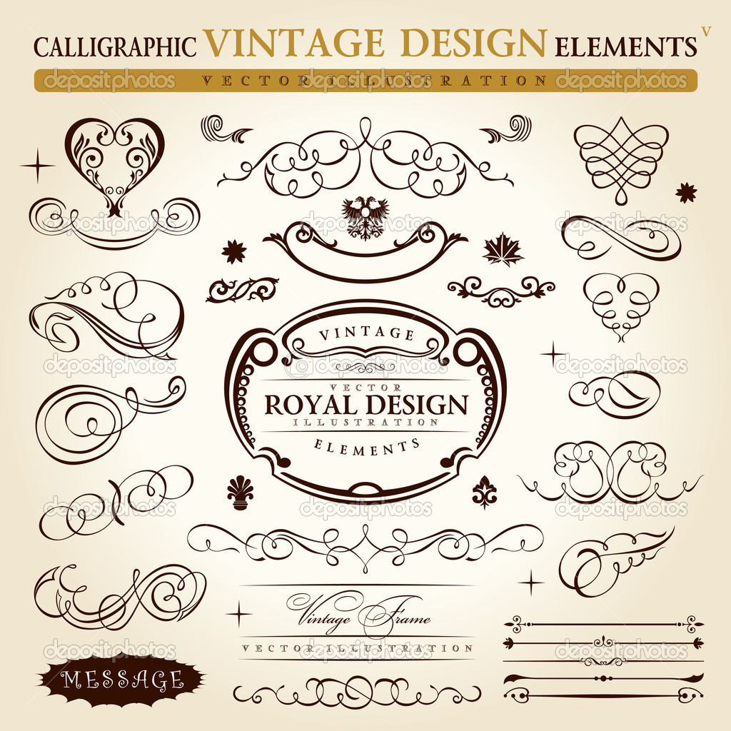 Calligraphic elements vintage ornament set. Vector frame ornament decor — Stock Vector #4911387