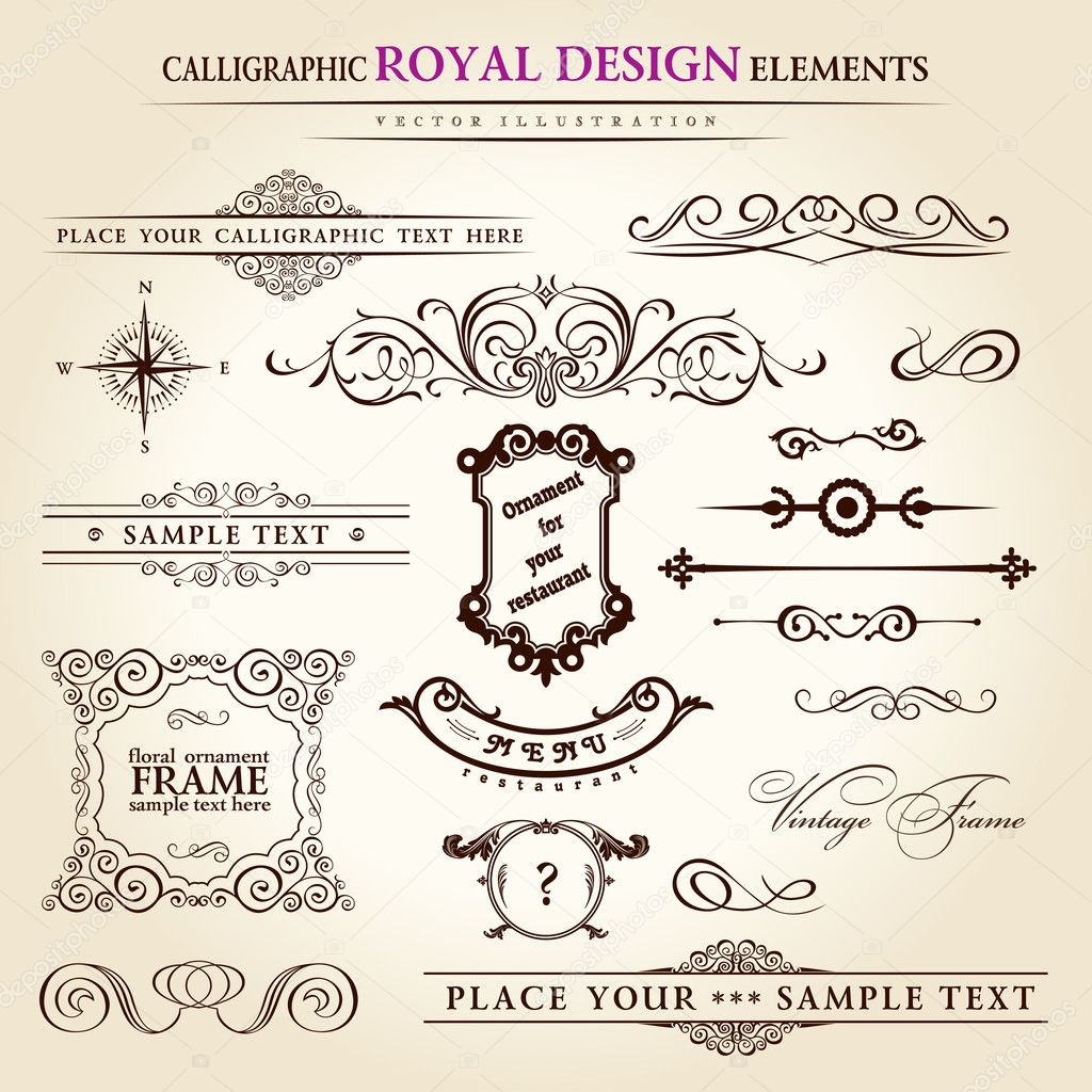Calligraphic elements vintage set. Hand retro written feather vector — Image vectorielle #4911388
