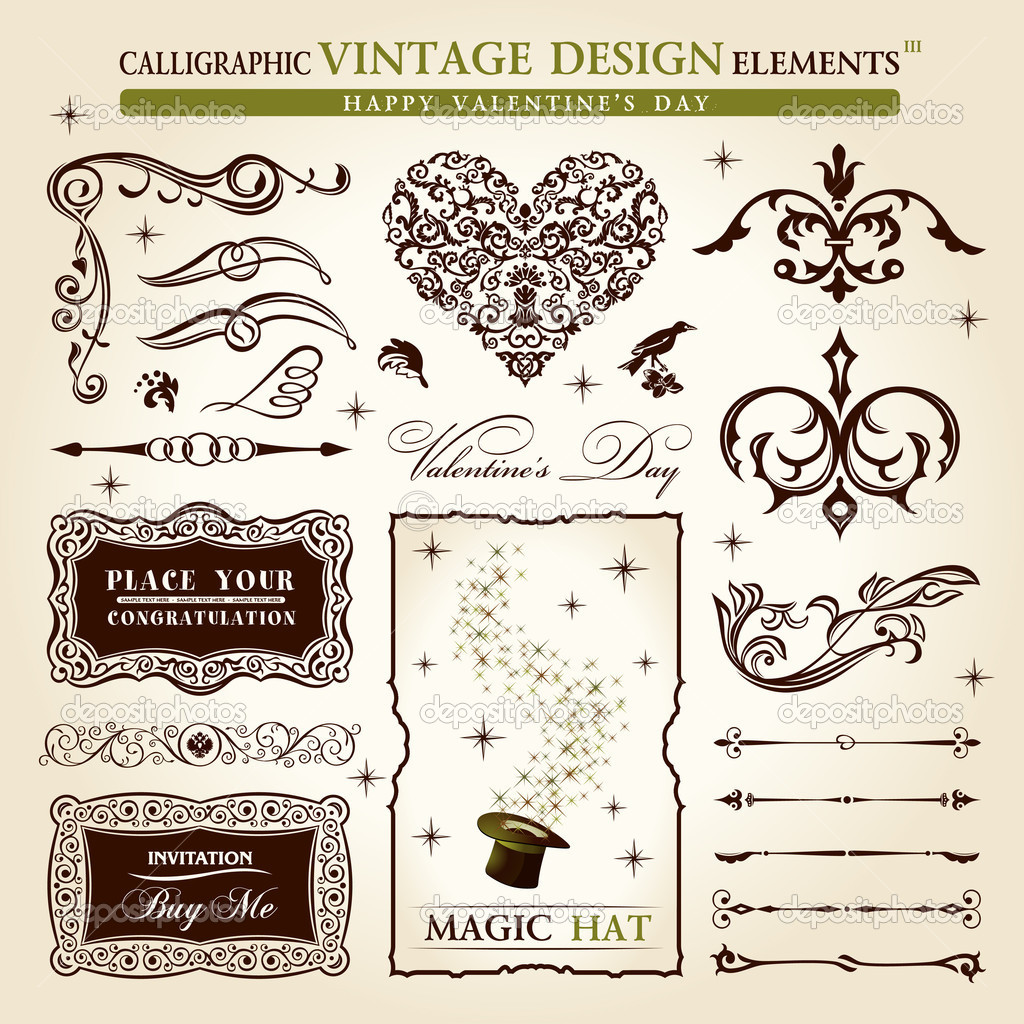 Calligraphic elements vintage vector set. Happy valentine day decor — Image vectorielle #4911393