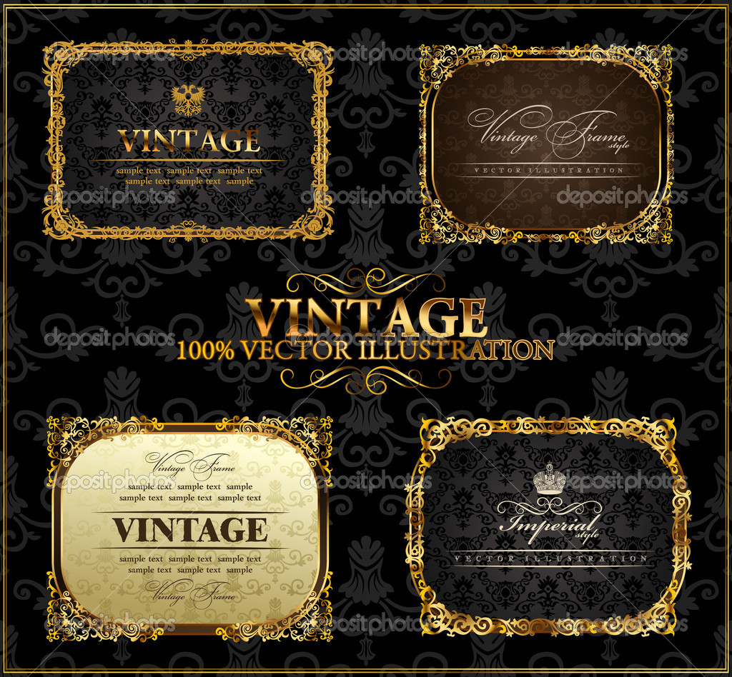 Vector vintage Gold frames decor set label  — ベクター素材ストック #4911427