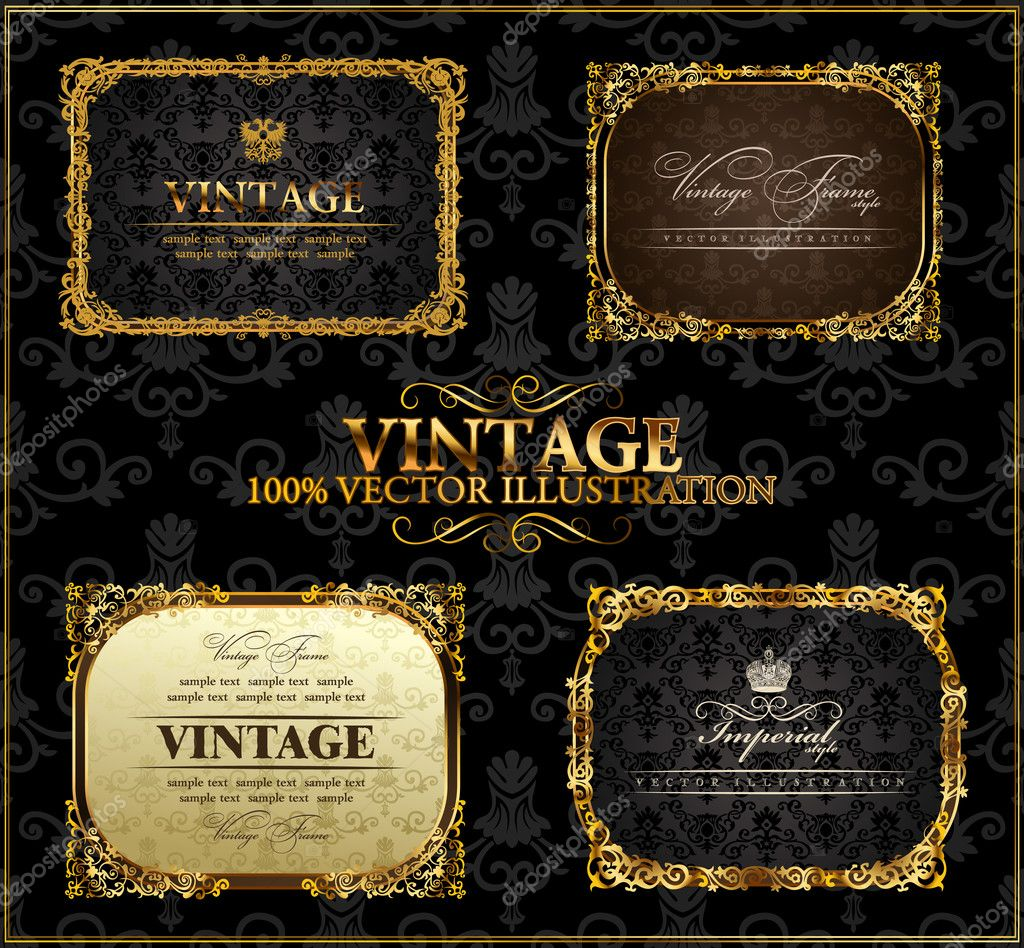 Vector vintage Gold frames decor set label   Stok Vektr #4911427