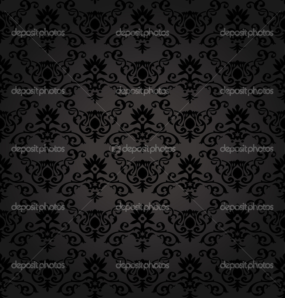 Black Seamless floral Pattern vector illustration — Imagen vectorial #4911445