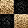 Seamless set four vintage backgrounds ornament wallpaper — Stock Vector