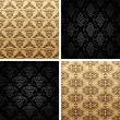 Seamless set four vintage backgrounds ornament wallpaper — Stok Vektör