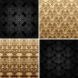 Seamless set four vintage backgrounds ornament decor — Vector de stock