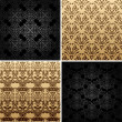 Seamless set four vintage backgrounds ornament decor — Stock vektor