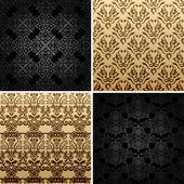 Seamless set four vintage backgrounds ornament decor — Stock Vector