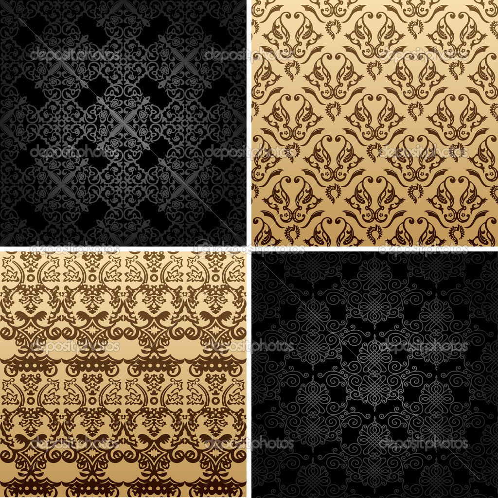 Seamless set four vintage backgrounds ornament decor retro — Stock Vector #5118299