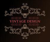 Vektor vintage royal retro ram prydnad inredning — Stockvektor