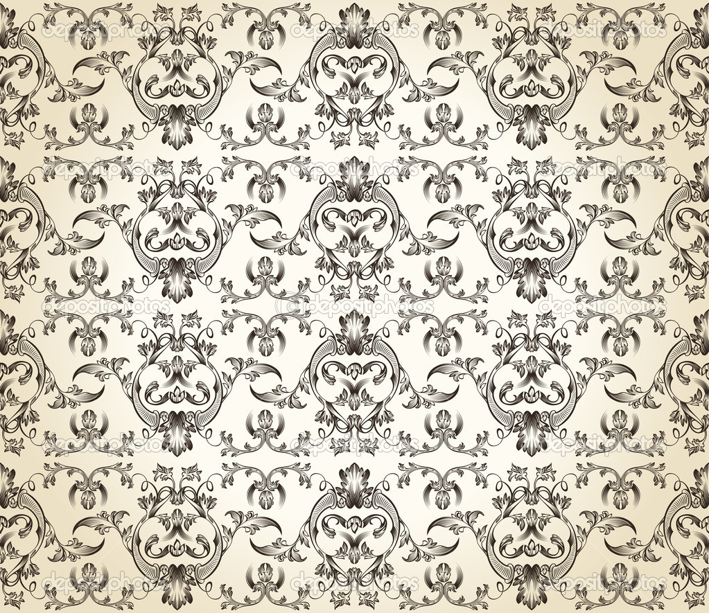 Seamless background vintage vector retro Pattern wallpaper — Stock Vector #5175572