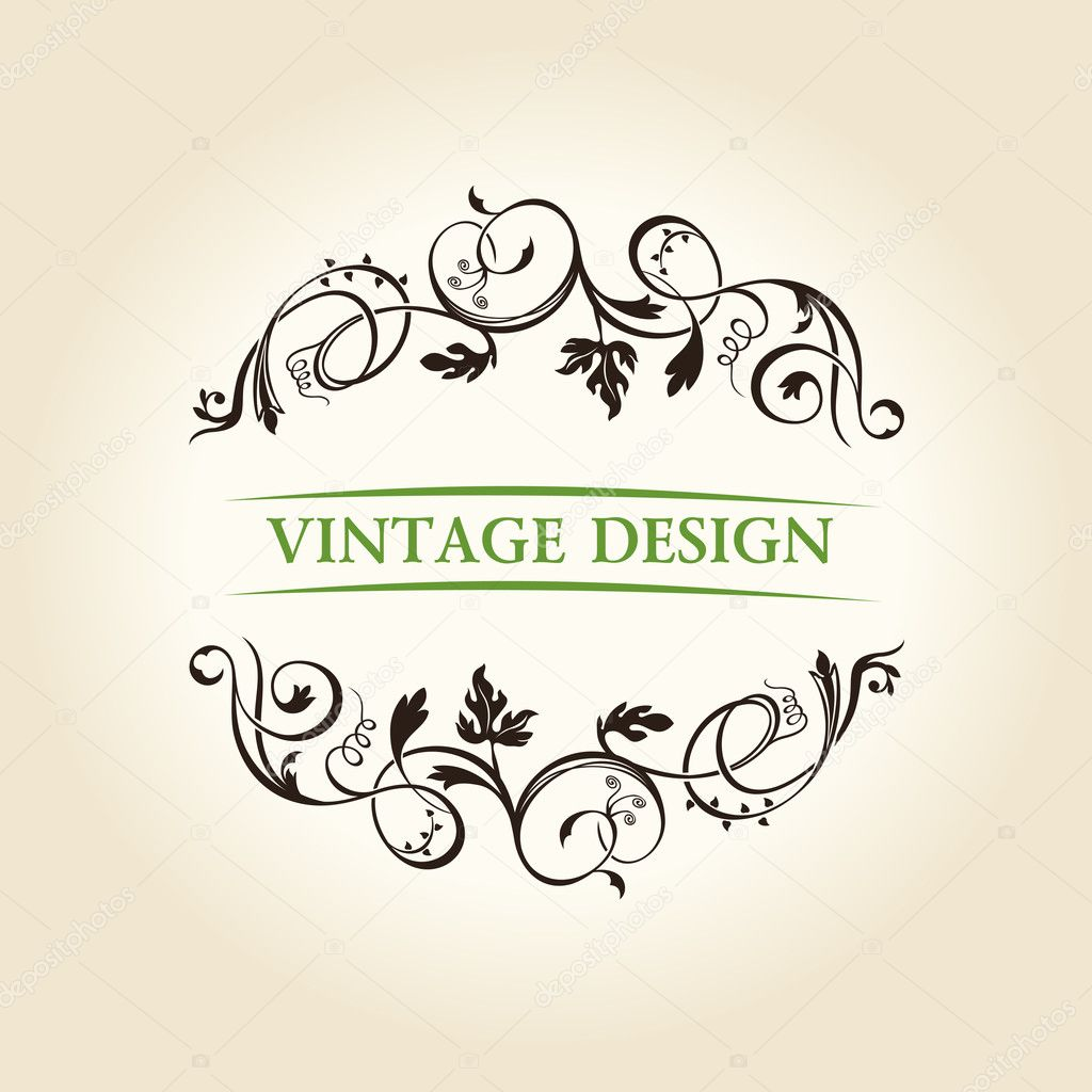 Vintage decor label ornament design emblem. Vector illustration  Stock Vector #5220366