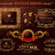 Vintage gold frames ornament set. Vector element decor — 图库矢量图片