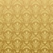 Seamless wallpaper background floral vintage gold - Stok Vektör