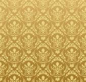 Dikişsiz duvar kağıdı arka plan, çiçek vintage altın — Stok Vektör
