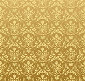 Seamless wallpaper background floral vintage gold — Stok Vektör