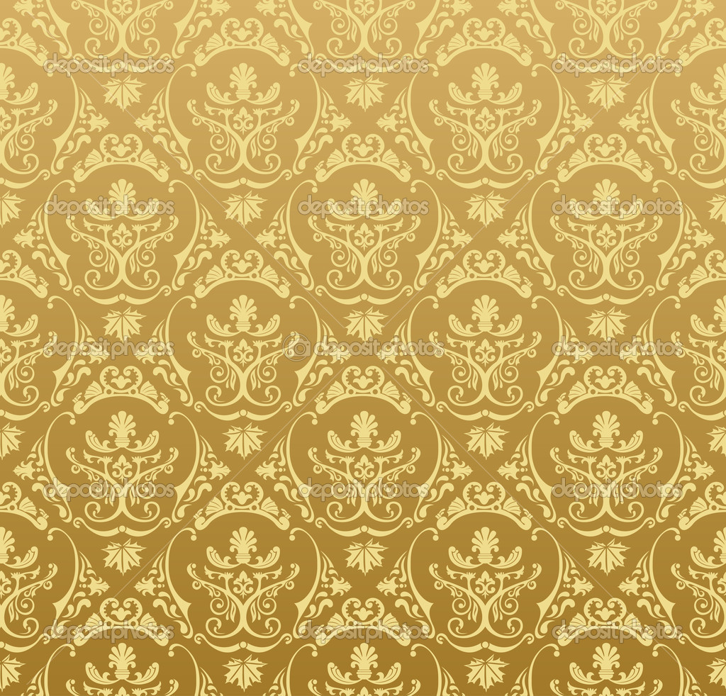 Seamless wallpaper background floral vintage gold vector — Grafika wektorowa #5277782