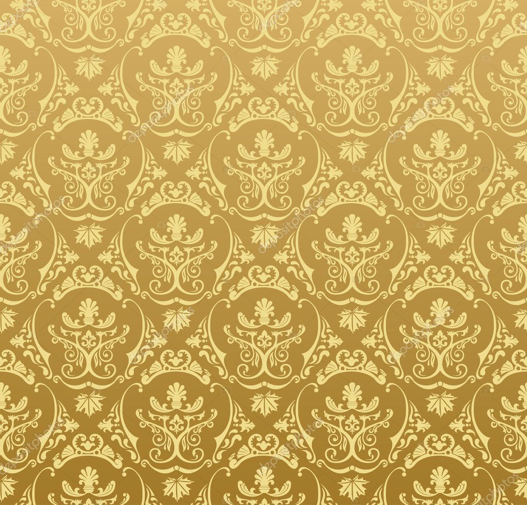 Seamless wallpaper background floral vintage gold vector — Stockvectorbeeld #5277782