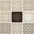Seamless vintage backgrounds set brown baroque Pattern — Stok Vektör
