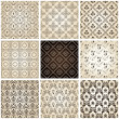 Seamless vintage backgrounds set brown baroque Pattern — 图库矢量图片