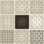 sömlös vintage bakgrunder sätta brun barock mönster — Stockvektor