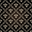 Seamless vintage wallpaper background floral black — Imagen vectorial