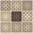 Seamless vintage backgrounds set brown baroque wallpaper — Stockvektor