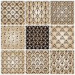 Seamless vintage backgrounds set brown baroque wallpaper — Stok Vektör