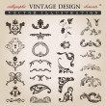 Flower calligraphic vintage royal design elements — Stock Vector