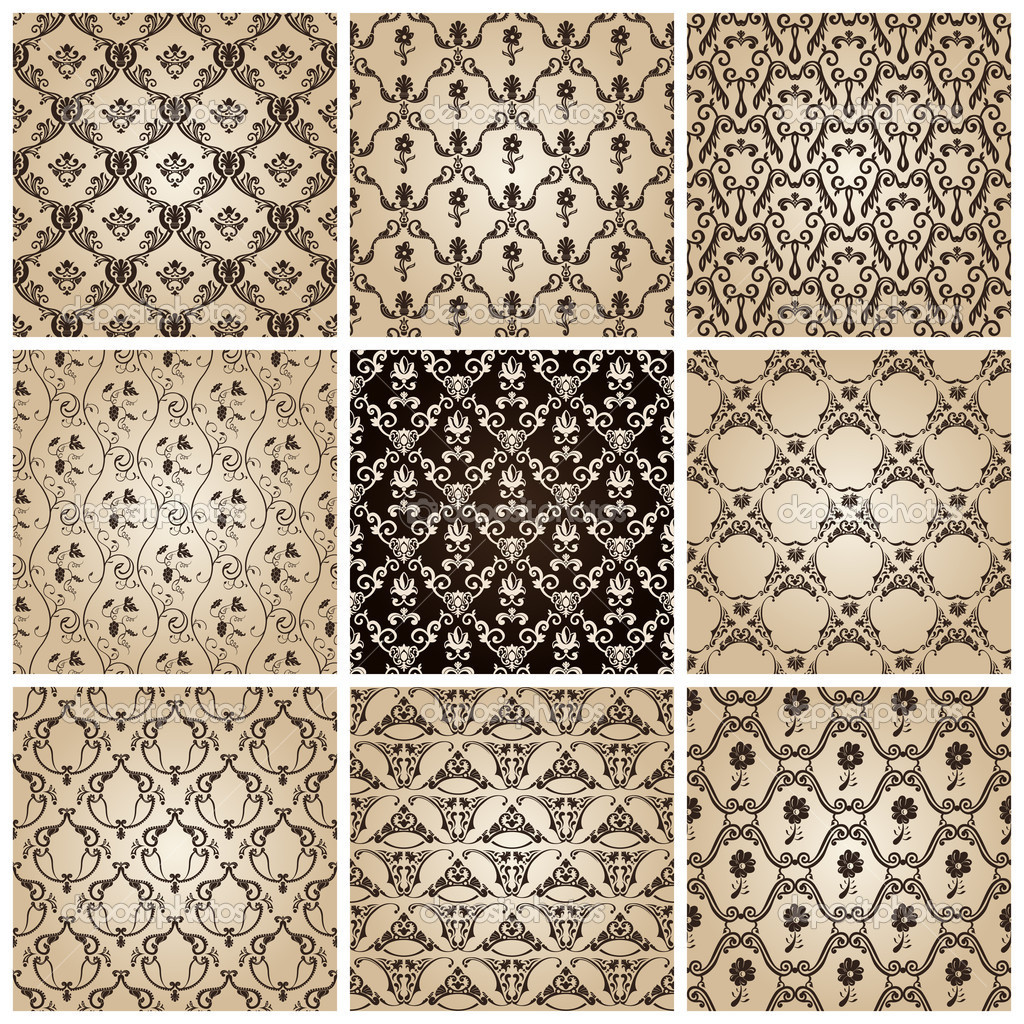 Seamless vintage backgrounds set brown baroque wallpaper. Vector set — Stock Vector #5372091