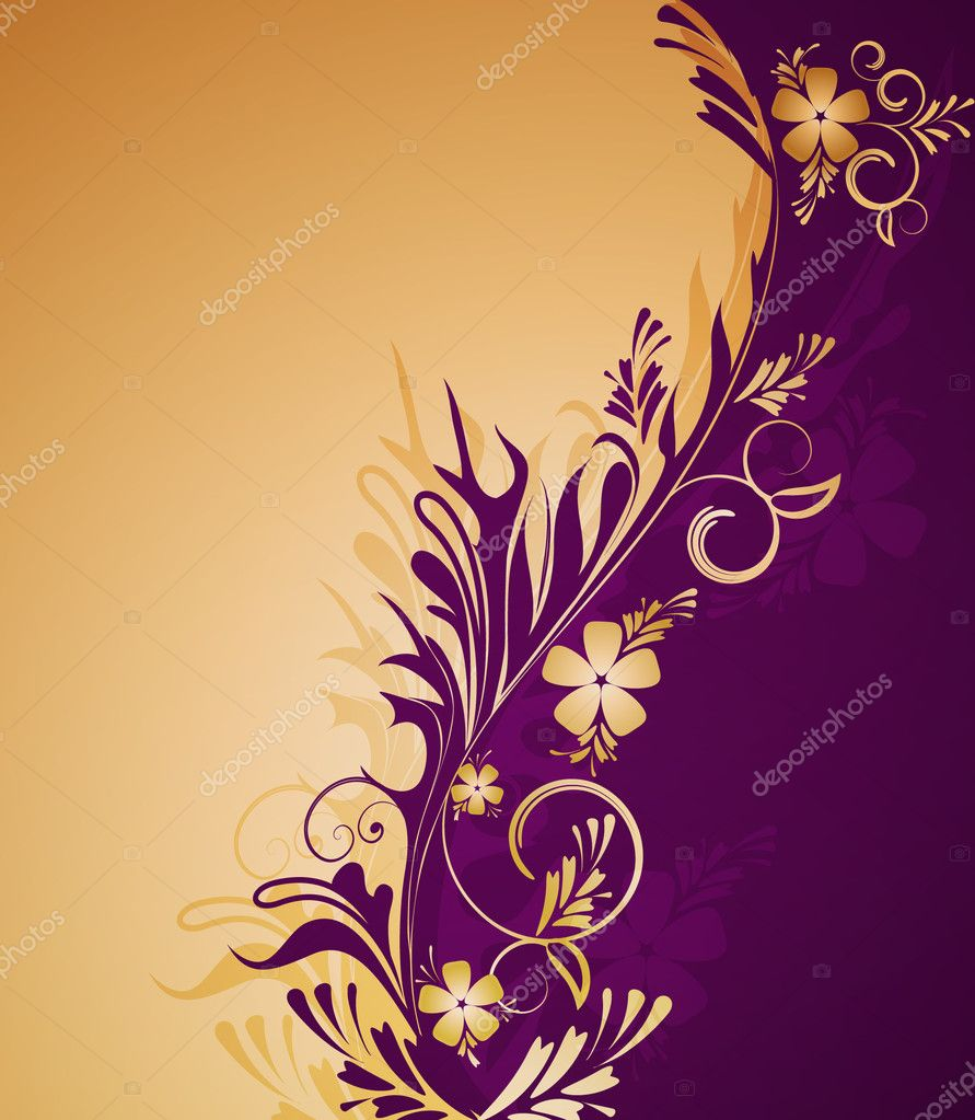 Decorative golden  background with flowers — Stock Vector #4450375