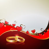 Background with hearts and rings — Vector de stock