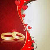 Fondo con corazones y anillos — Vector de stock