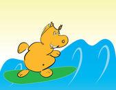 Hipopótamo en tabla de surf — Vector de stock