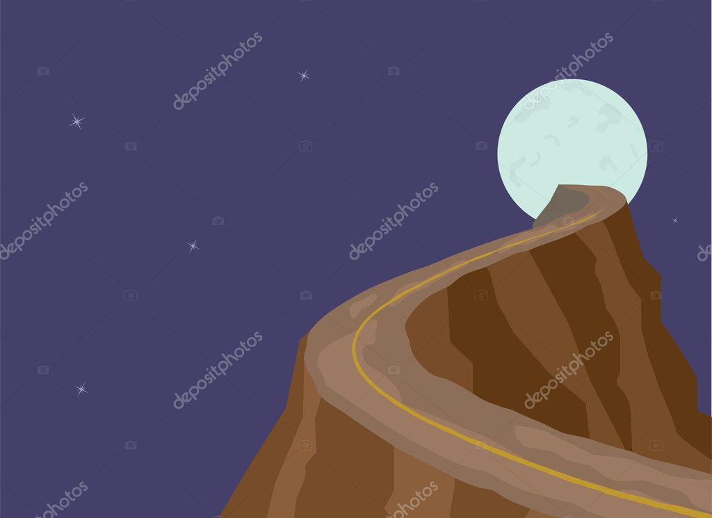 Narrow dangerous mountain road on full moon background. Abstract illustration.Scalable layered EPS vector file. — Stock Vector #4899841