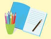 Lápices y diario — Vector de stock