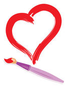 Paintbrush and painted heart — Stock Vector