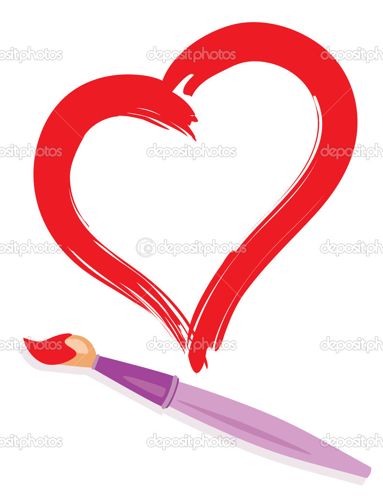 Paintbrush and drew red heart. Abstract love concept illustration