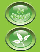 Be green_glossy buttons — Stock Vector