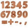 Digits in wood grain textured style — Stock Vector