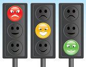 Traffic light smiley — Stock Vector