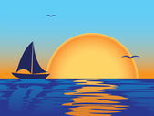 Sea sunset with boat silhouette — Stock Vector