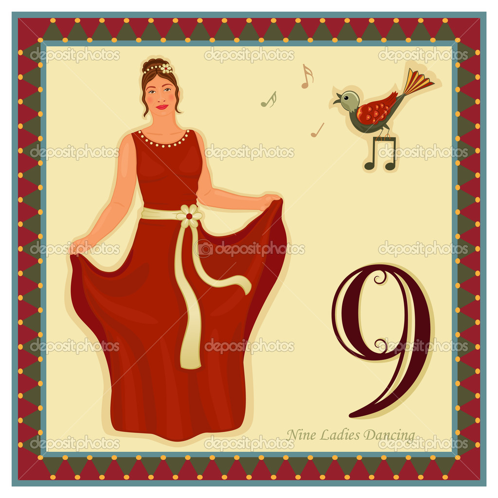 The 12 Days of Christmas - 9-th Day - Nine ladies dancingVector illustration saved as EPS AI 8, no effects, easy print.   — Stock Vector #4341517