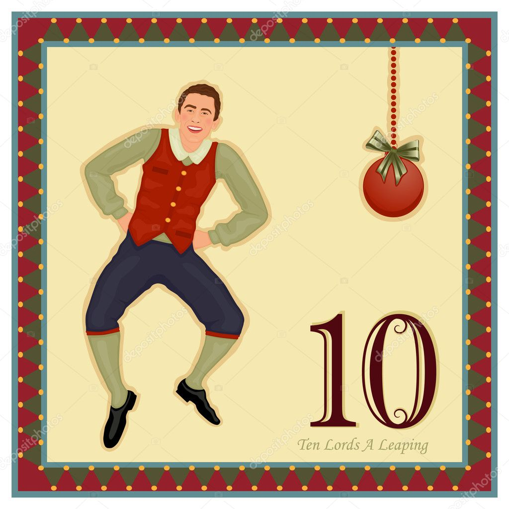 The 12 Days of Christmas - 10-th Day - Ten Lords A LeapingVector illustration saved as EPS AI 8, no effects, easy print.    Stock Vector #4341520