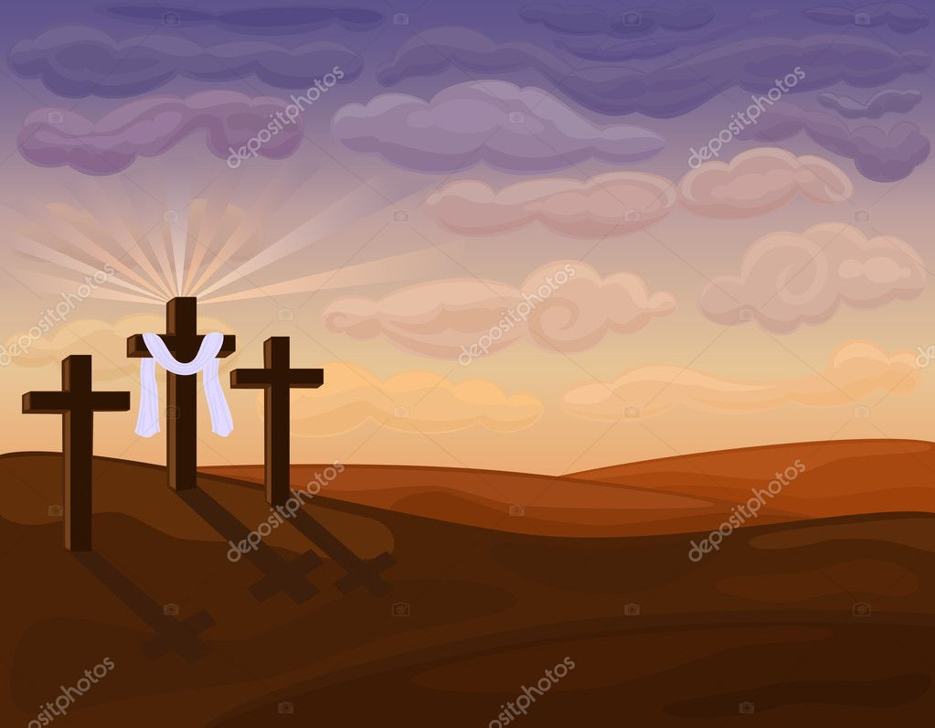 Religious Easter Card with Golgotha hills - Jesus crucifixion. Vector file saved as EPS AI8, no special effects, easy print.   Stock Vector #5186567