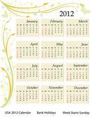 カレンダー 2012 - アメリカ — ストックベクタ