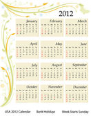 Calendar 2012 - USA — Stockvektor