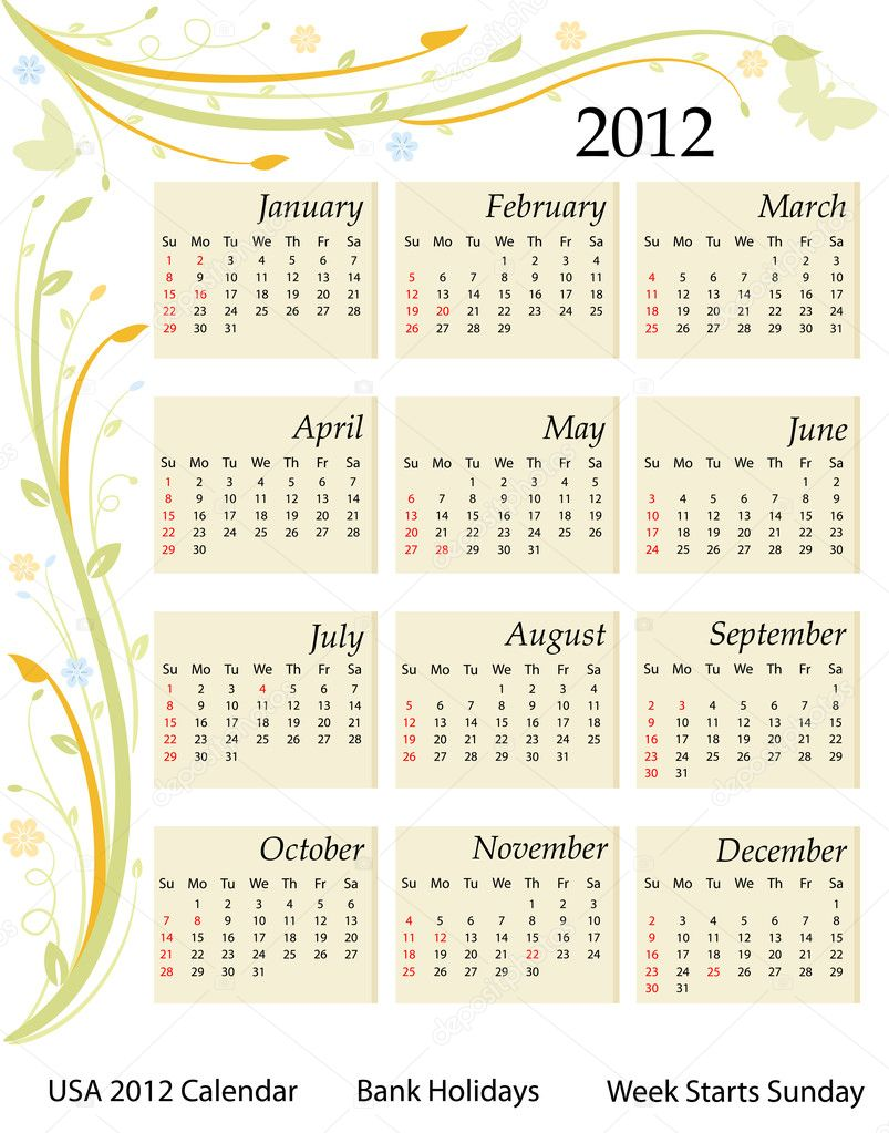 Calendar for the year 2012. USA version with bank holidays included. Over white background. Vector file saved as EPS AI8, all elements grouped and labeled.  — Image vectorielle #5291168