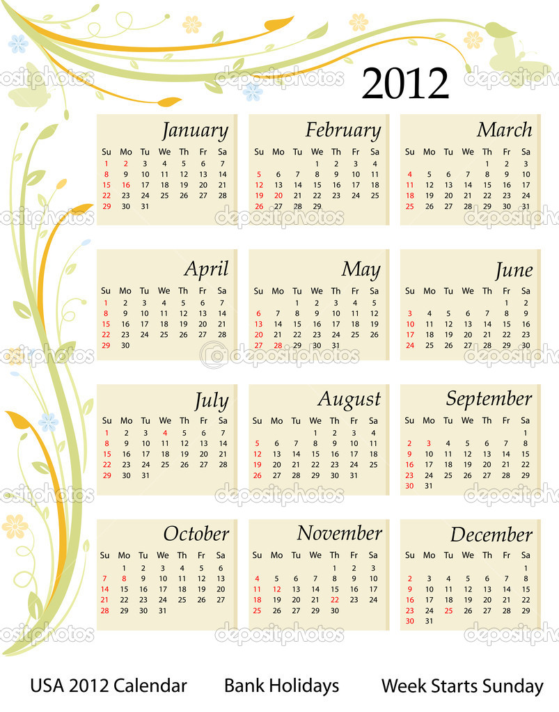Calendar for the year 2012. USA version with bank holidays included. Over white background. Vector file saved as EPS AI8, all elements grouped and labeled.   Vektorgrafik #5291168
