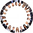 Group of business standing in huddle, smiling, low angle view — ストック写真